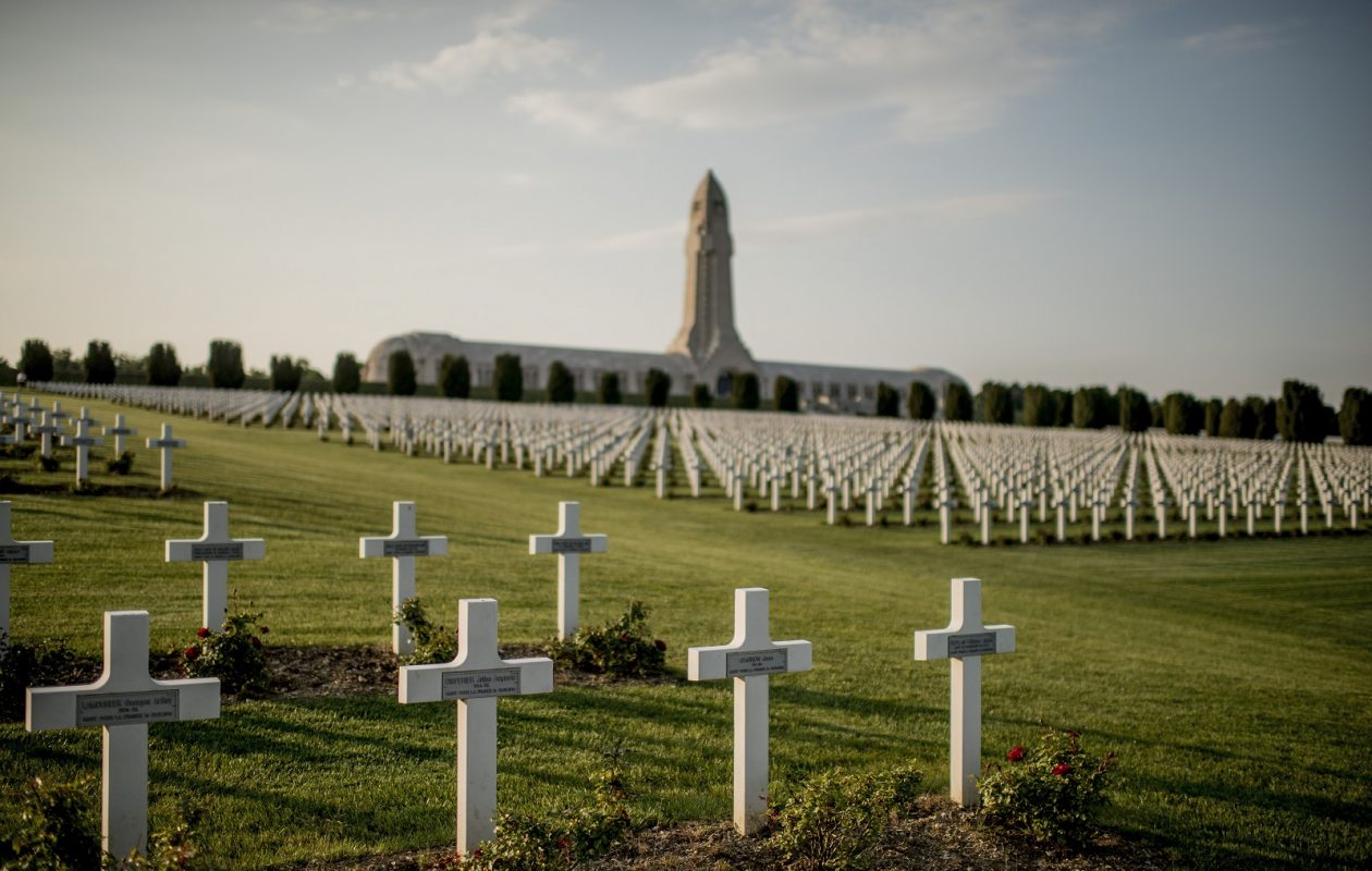 In the distance, the Douaumont Ossuary, where the remains of some 130,000 French and German soldiers are interred, in Verdun, France. (Tomas Munita/The New York Times)