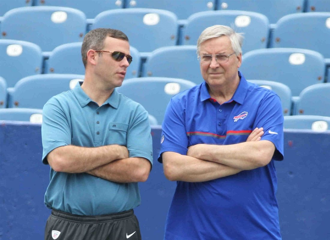 Brandon Beane and Terry Pegula will have cap space to burn in 2019. (James P. McCoy/Buffalo News)