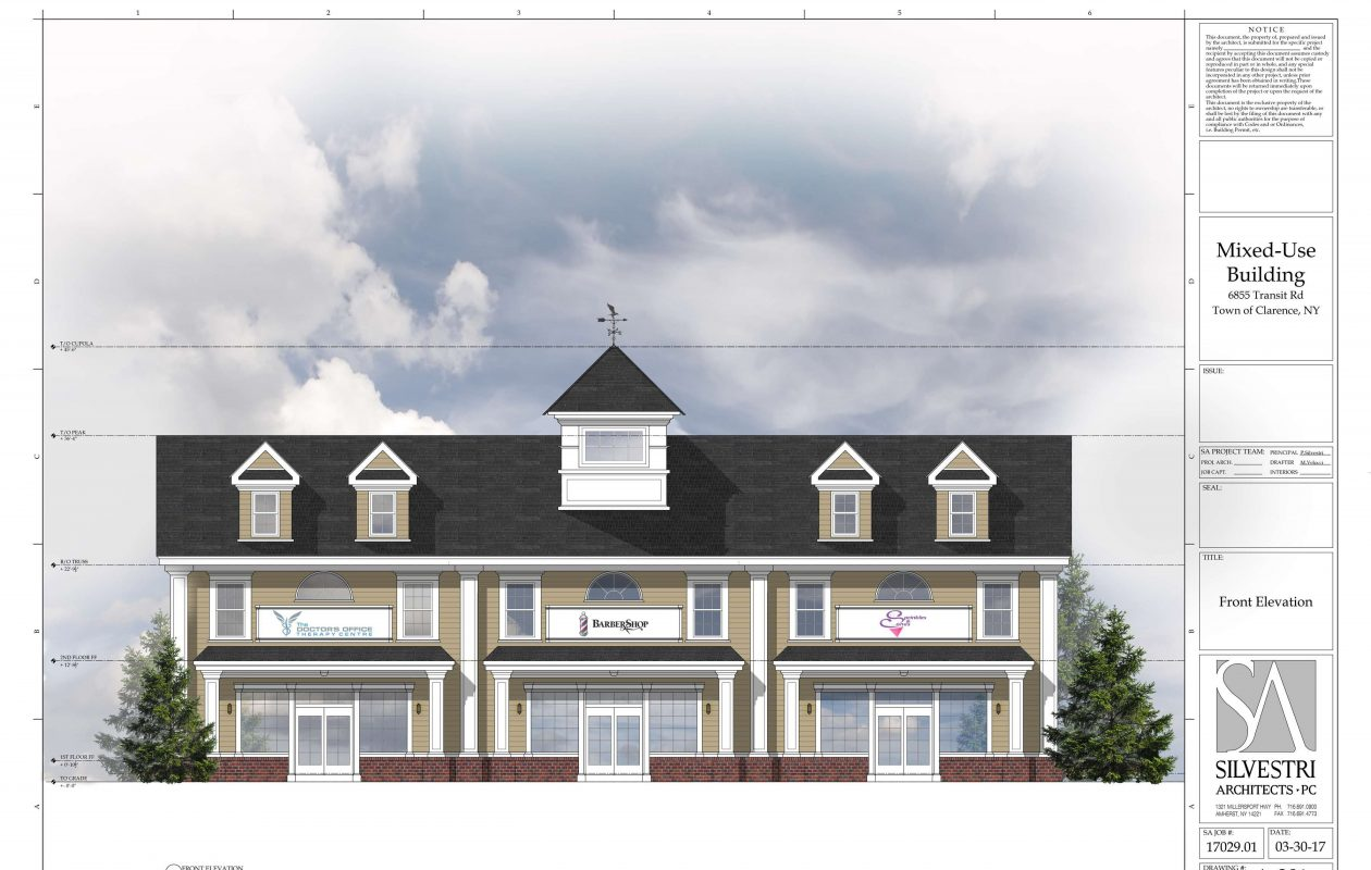 A rendering of a plan for a mixed-use retail and apartment building at 6855 Transit Road.