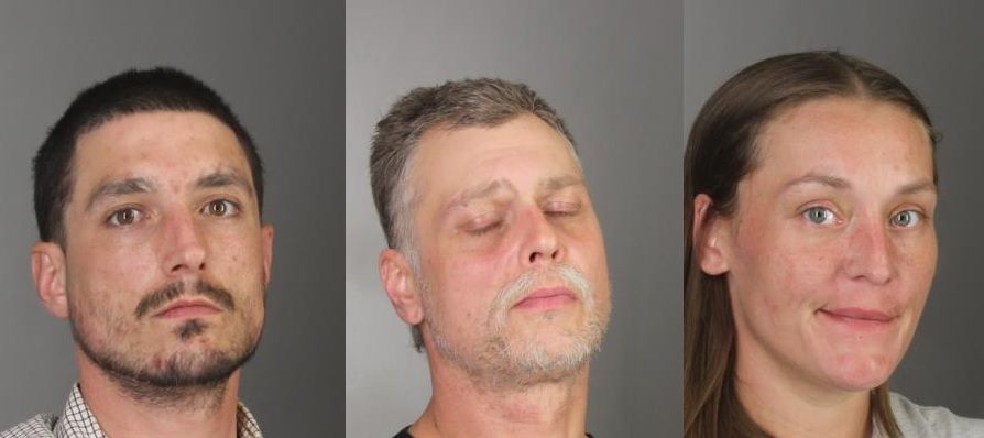 Left to right, Shane Corter, 31, of Grand Island; Walter Weber, 44, of Cheektowaga; and Jessica Polakiewicz, 34, of Grand Island; were arrested Thursday night. (Erie County Sheriff's Office)