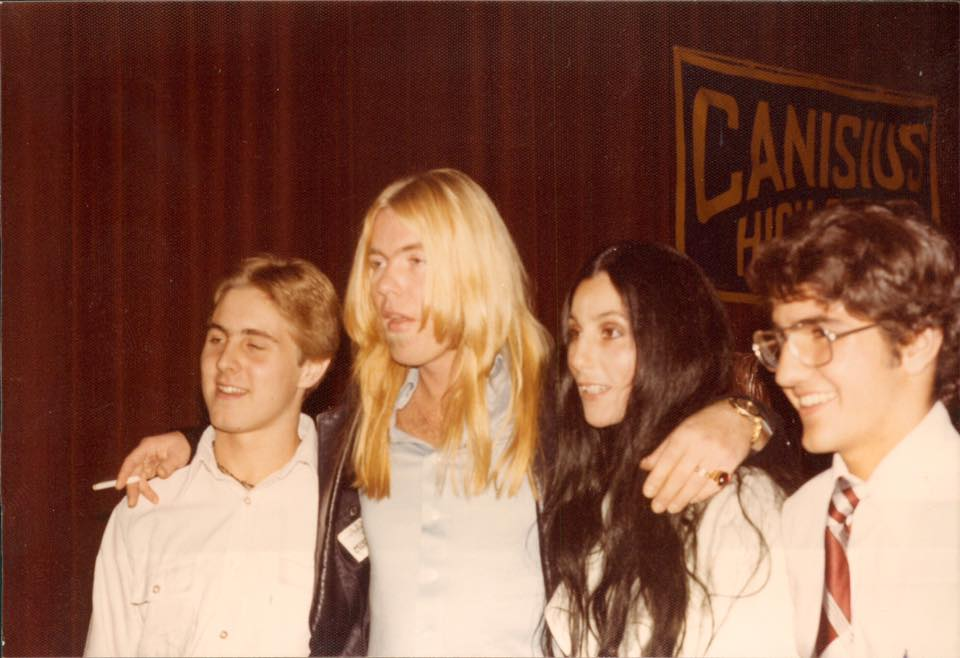 The impossible concert: Brian Pocknal (left) with Gregg Allman, Cher and classmate Mike Militello after Allman's concert at Canisius, Oct. 20, 1976 (Image courtesy Brian Procknal)