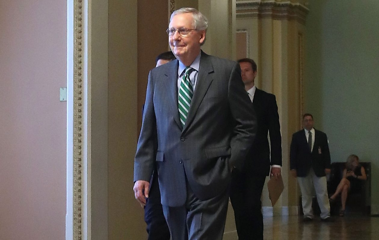 Senate Majority Leader Mitch McConnell  accused Democrats of obstructionism on health care and announced he would delay the Senate's scheduled August recess by two weeks so that senators could keep working. (Getty Images)