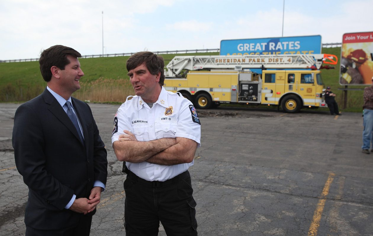 Daniel J. Neaverth Jr. (right), Erie County's homeland security commissioner, talks with County Executive Mark C. Poloncarz. (Buffalo News file photo)