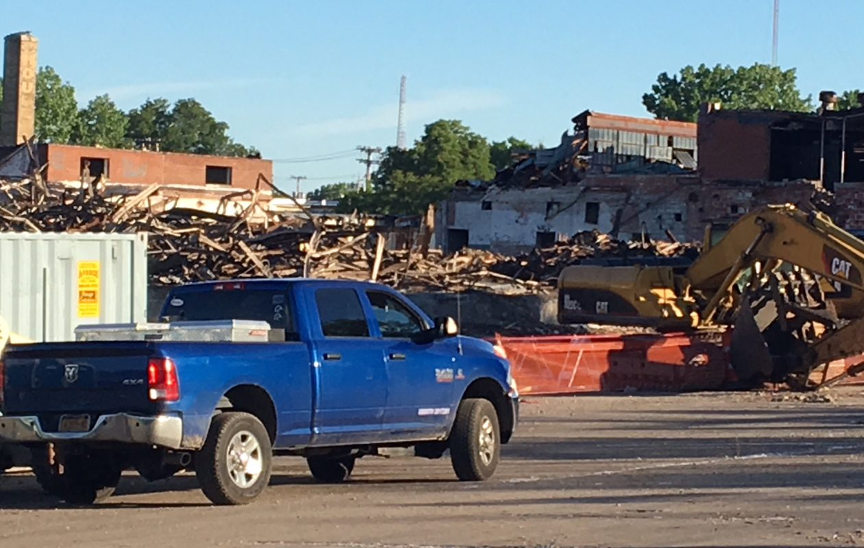 Demolition work underway at site of Northland Corridor project.