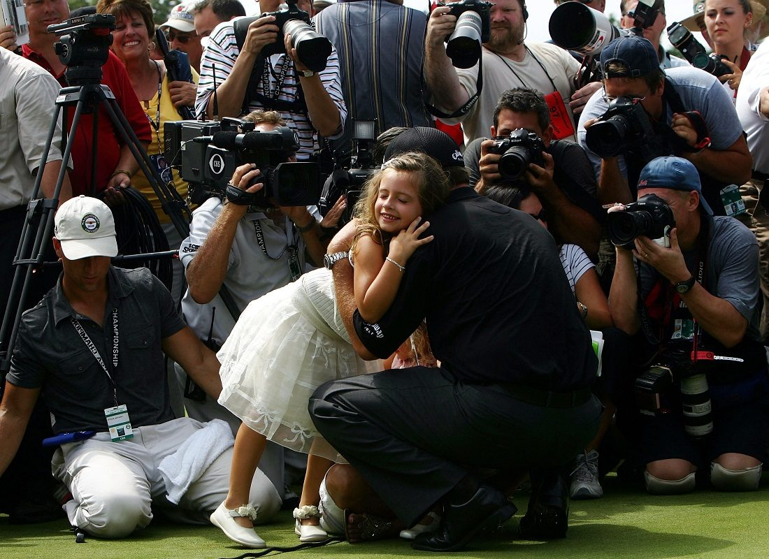 Amanda Mickelson hugs her father, Phil Mickelson in front of a mass of photographers after Phil won the 2005 PGA Championship on August 15, 2005 in Springfield, New Jersey.  (Getty Images)