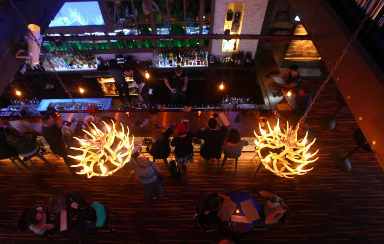 The Lodge offered two levels, and over 6,000 square feet of entertainment space. (John Hickey/Buffalo News)
