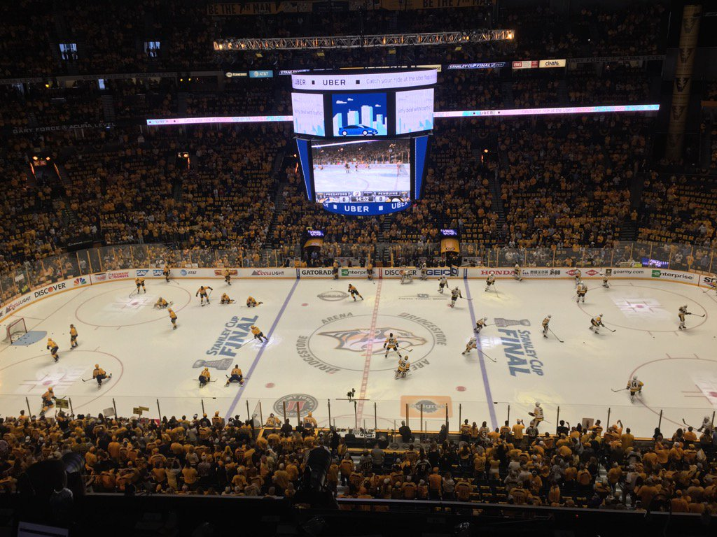 The Predators and Penguins go through their paces prior to Game Six in Bridgestone Arena (Mike Harrington/Buffalo News).