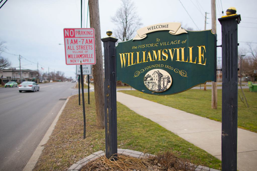 The sign greeting visitors as they arrive on Main Street in the north end of the Village of Williamsville, Tuesday, Feb. 21, 2017.  (Derek Gee/Buffalo News)