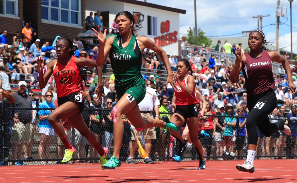 Tapestry Charter's Nia Stevens excelled on the first day of the state track meet. (Harry Scull Jr. / The Buffalo News)