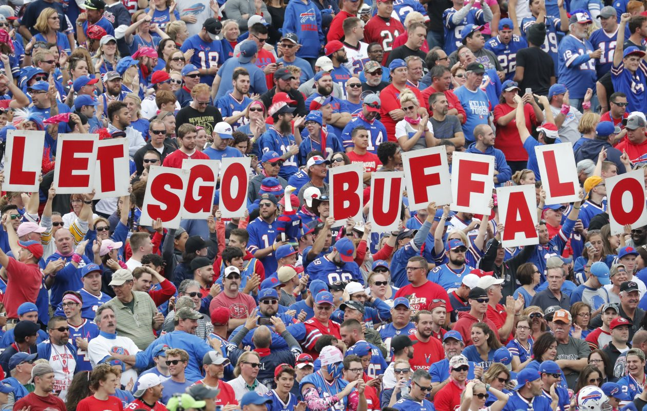 Buffalo Bills fans celebrate a Robert Woods touchdown against the San Francisco 49ers during the fourth quarter at New Era Field on Sunday, Oct. 16, 2016.  (Harry Scull Jr./Buffalo News)
