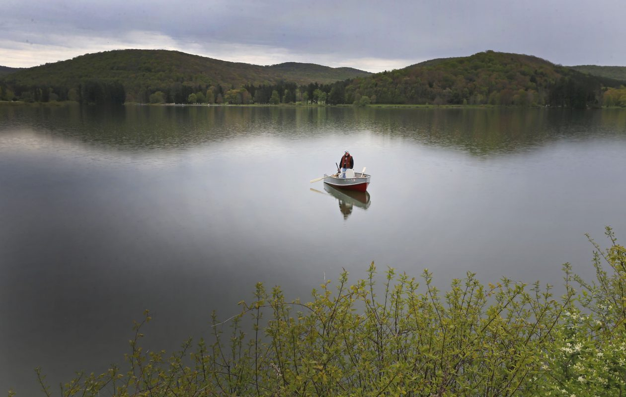 A suspicious algal bloom believed to be toxic blue-green algae was found Friday on Red House Lake at Allegany State Park, according to the state Department of Environmental Conservation. (Robert Kirkham/Buffalo News)