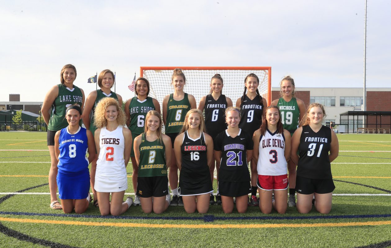 The 2017 All-WNY Girls Lacrosse Team: Top from left: Shayla Scanlan, Jalyn Jimerson, Ivy Santana, Laura Skrzpczyk, Taylor Gehen, Hannah Kennedy, Kendra Jones. Bottom (from left): Kaitlyn Hart, Camryn Sullivan, Grace Vogel, Maddie Mazur, Addy Wright, Allison Kaspryzk, Sam McIver, during the girls All- WNY senior game at Williamsville North high school  on Tuesday, June 13, 2017. (Harry Scull Jr./Buffalo News)