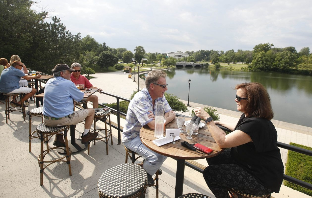 On right are Alan Bigelow and his wife Elizabeth Licata, of Buffalo, on the patio area of The Terrace. (Sharon Cantillon/Buffalo News)