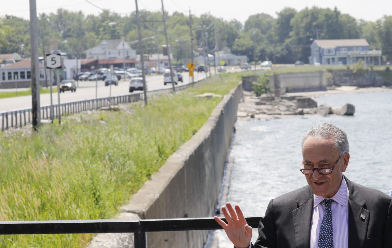 Sen. Charles Schumer calls for the Army Corps of Engineers to expedite the Route 5 sea wall project in Hamburg during a press conference outside of Hoak's Restaurant, Thursday, July 6, 2017.  (Derek Gee/Buffalo News)
