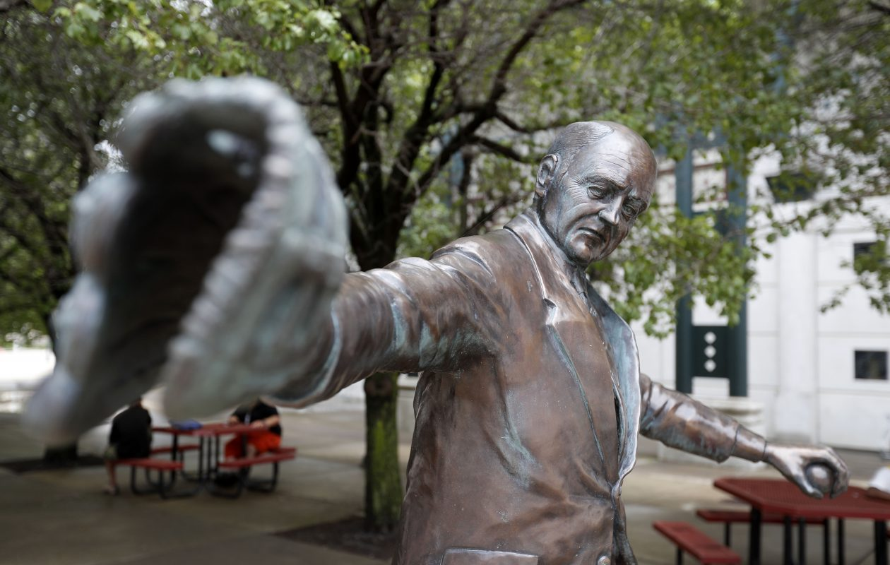 The statue of Jimmy Griffin outside of Coca- Cola Field. (Mark Mulville/Buffalo News)