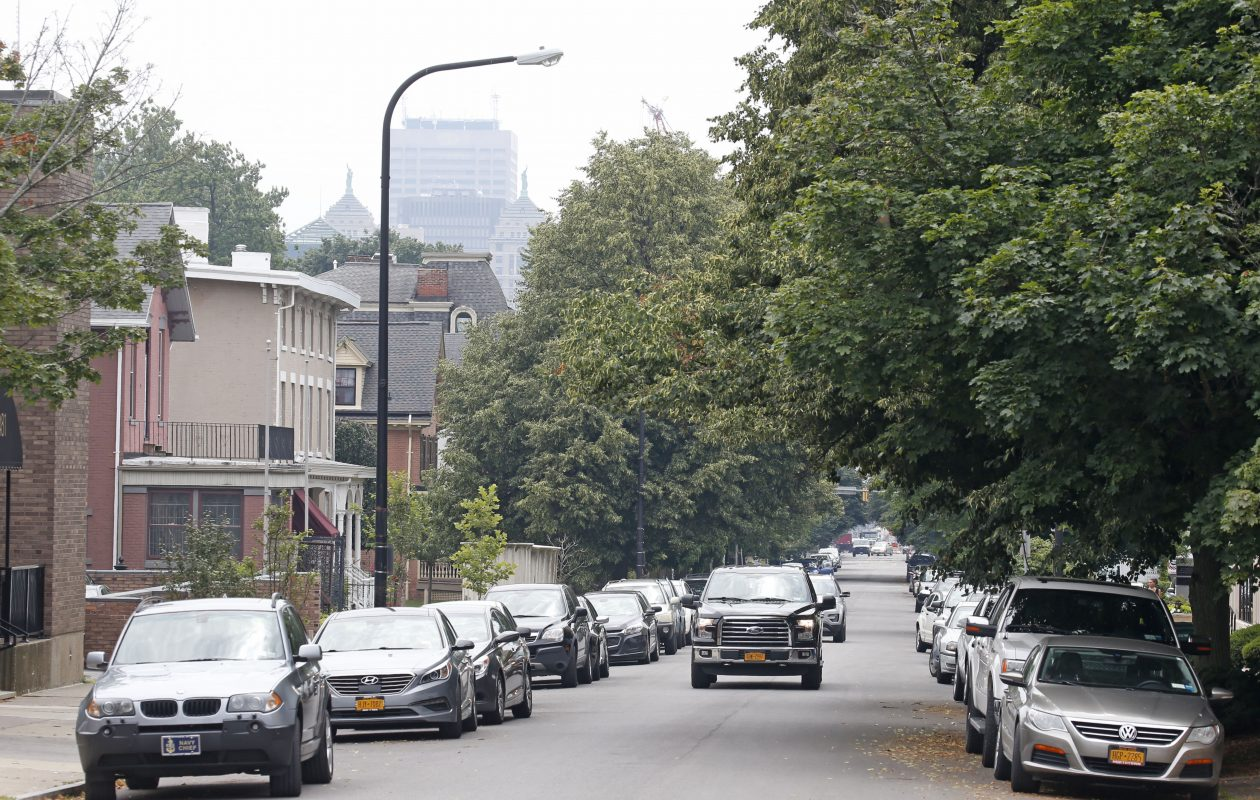 Cars pack Franklin Street near the medical campus on a typical Wednesday afternoon. Residents say it's terrible and getting worse. (Robert Kirkham/Buffalo News)