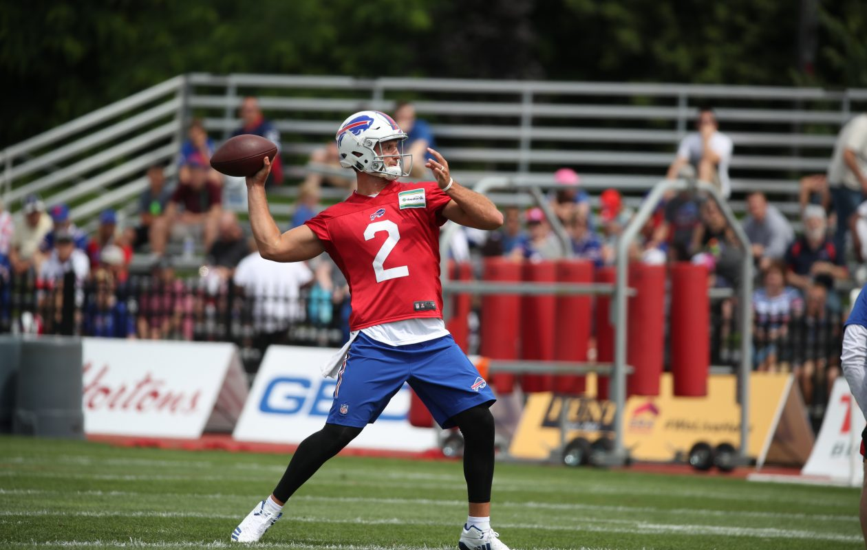 Quarterback Nathan Peterman is looking calm and confident, according to offensive coordinator Rick Dennison. (James P. McCoy/Buffalo News)
