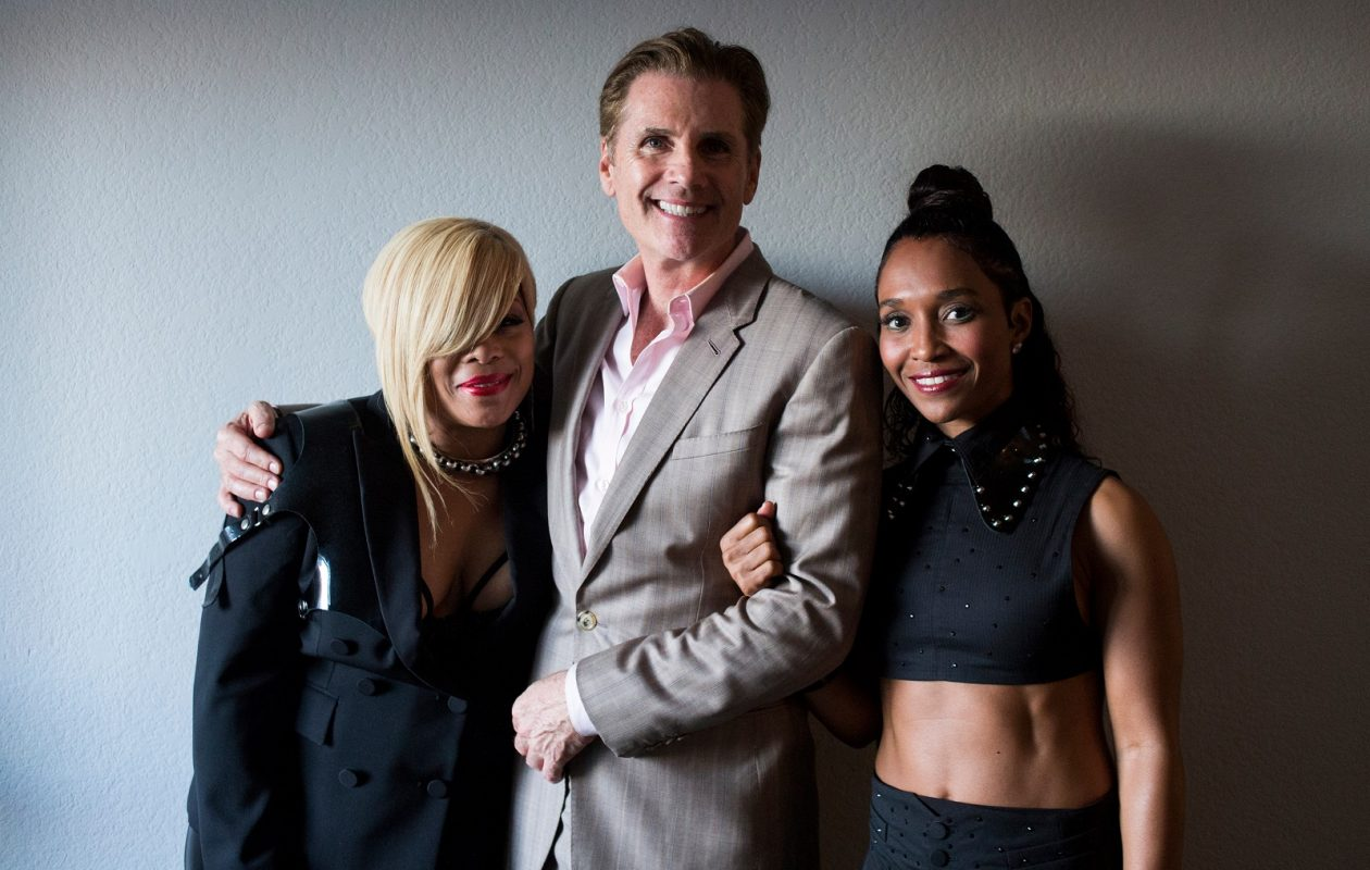 From left, TLC member Tionne Watkins, manager Bill Diggins, and TLC member Rozonda 'Chilli' Thomas take a portrait together after TLC's performance on 'Dancing with the Stars' at CBS Television City in Los Angeles, Calif. (Jenna Schoenefeld/Special to The News)