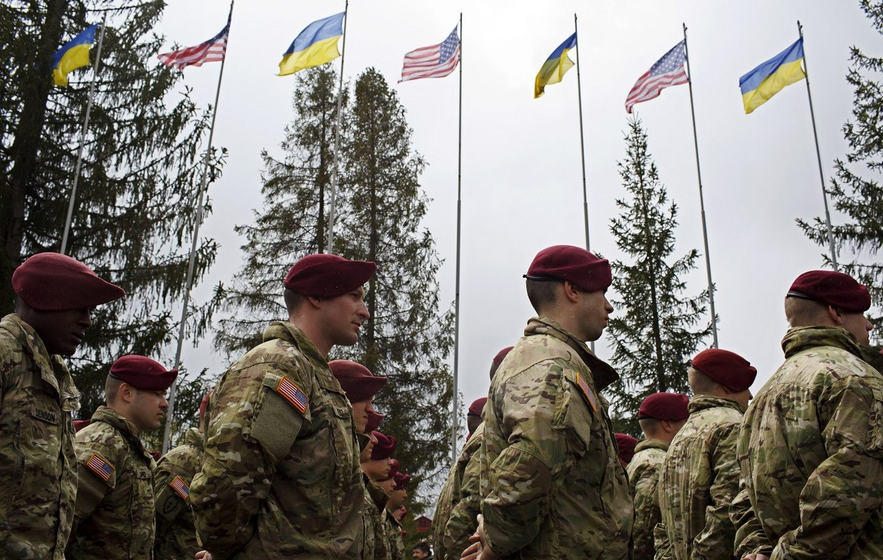 Members of the American 173rd Airborne unit stand at attention during the opening ceremony for Operation Fearless Guardian on April 20, 2015, at the International Peacekeeping and Security Center near Yavoriv, Ukraine. Troops from Western New York will be travelling to Ukraine later this year to train Ukrainian soldiers. (Getty Images)