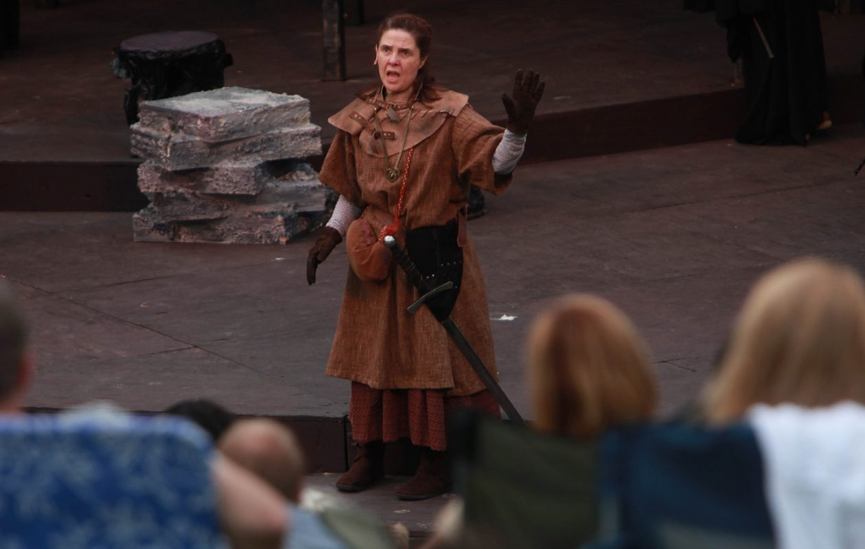 "The 2017 run of ""Macbeth"" at Shakespeare in Delaware Park will take a more traditional approach than the all-female cast of 2010. Here, Kate Konigisor is Macbeth from that run. (Sharon Cantillon/Buffalo News file photo)"