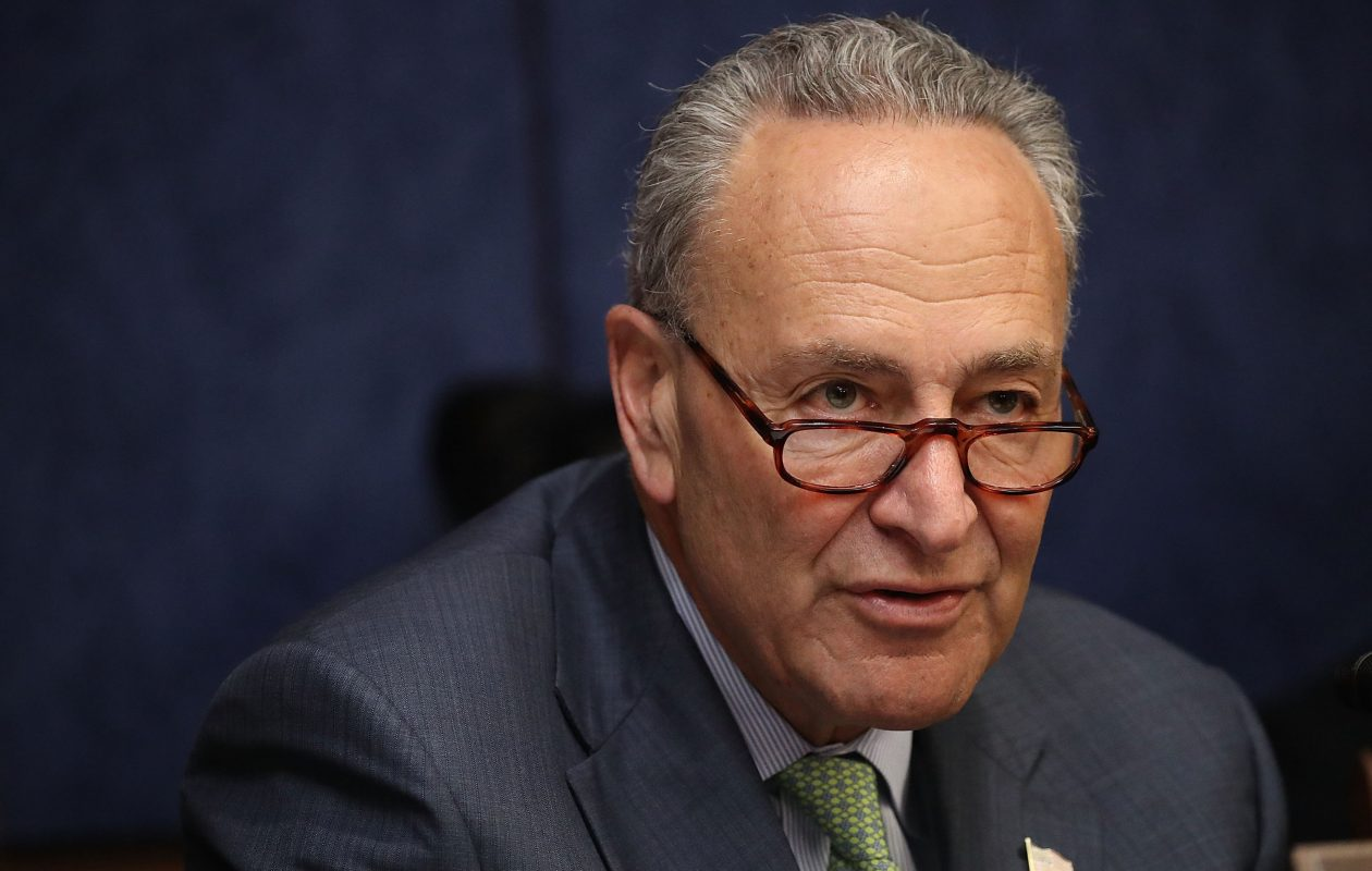 "'This will greatly tie the majority leader's hands as he tries to win over reluctant Republicans with state-specific provisions,' said Sen. Chuck Schumer. 'We will challenge every one of them."" (Getty Images)"