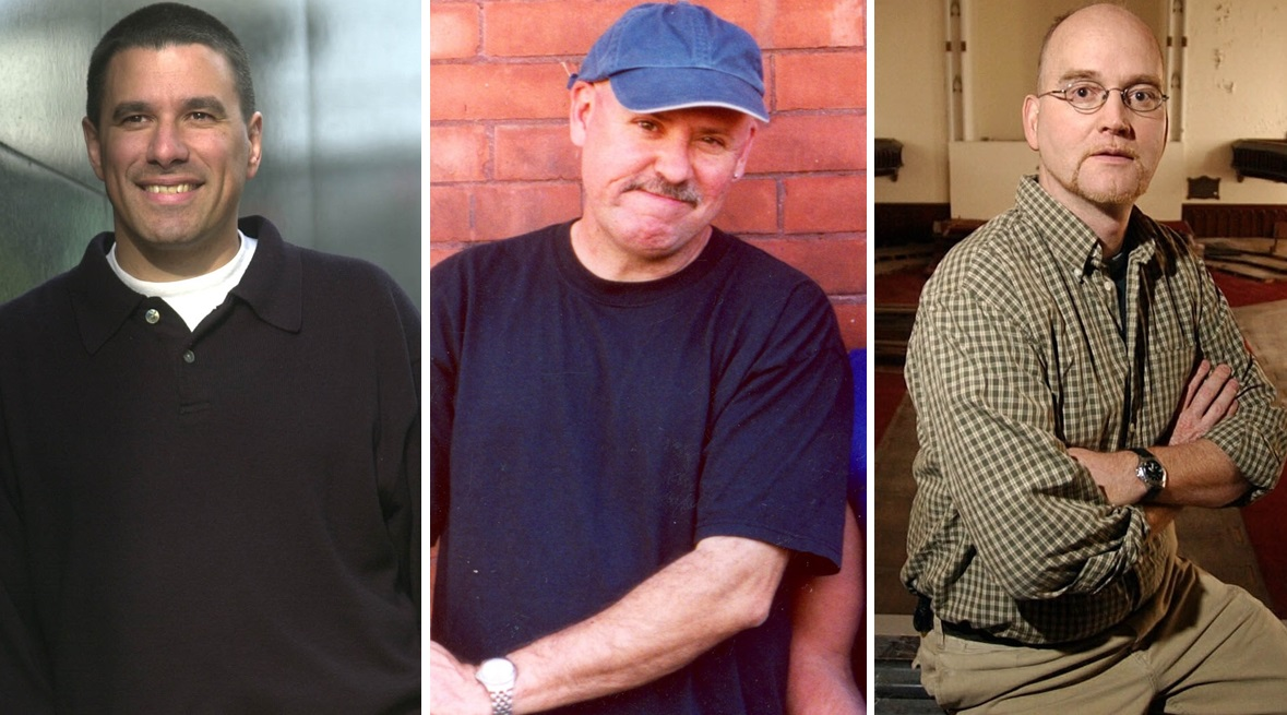 Band managers in Buffalo through the years, from left: Artie Kwitchoff, who worked with the Goo Goo Dolls, then the late Michael Meldrum, who helped Ani DiFranco, and Scot Fisher, who followed Meldrum as DiFranco's manager. (Buffalo News file photos)