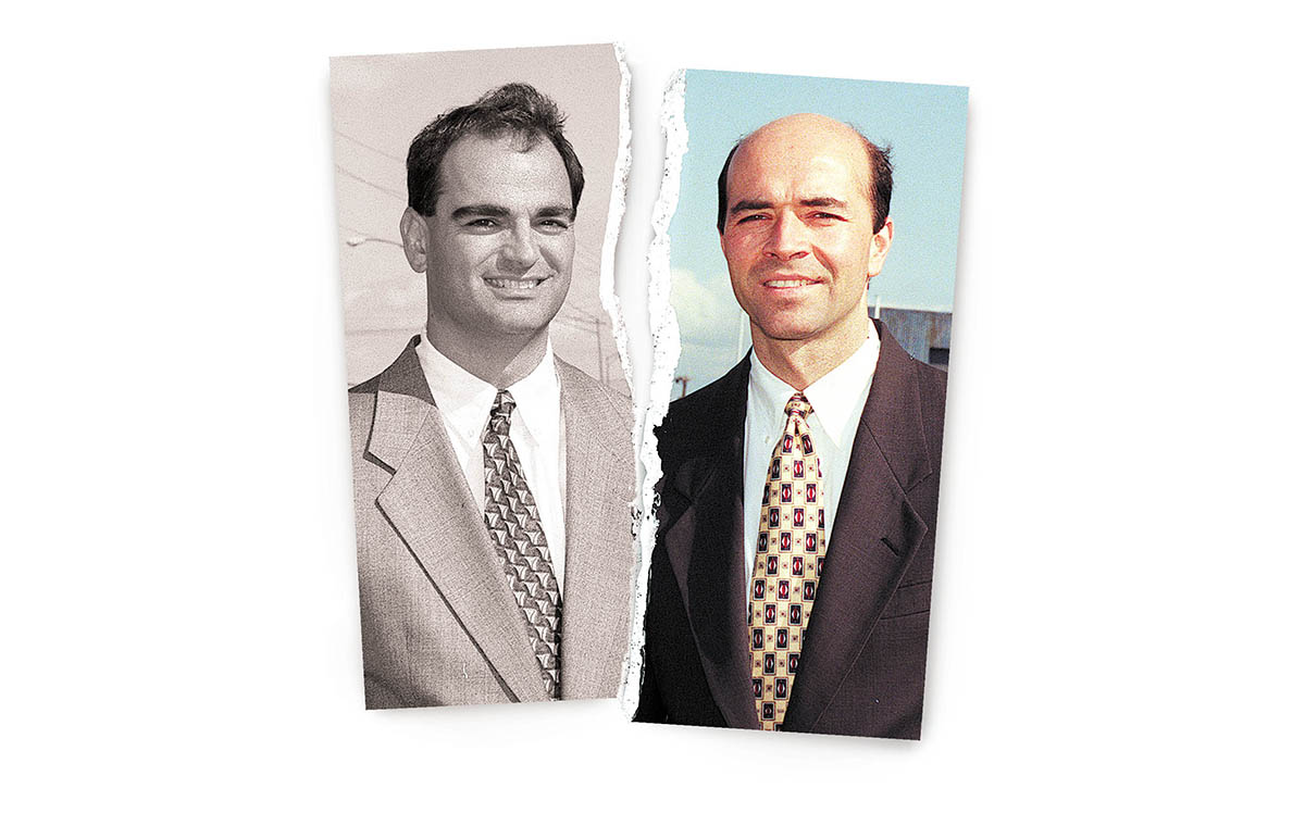 "Ross Cellino, left, and Steve Barnes have been smiling down on Buffalo expressway commuters for two decades, while their constant jingle with all those ""8s"" plays out on the car radio and television ads. (News file photos/illustration)"