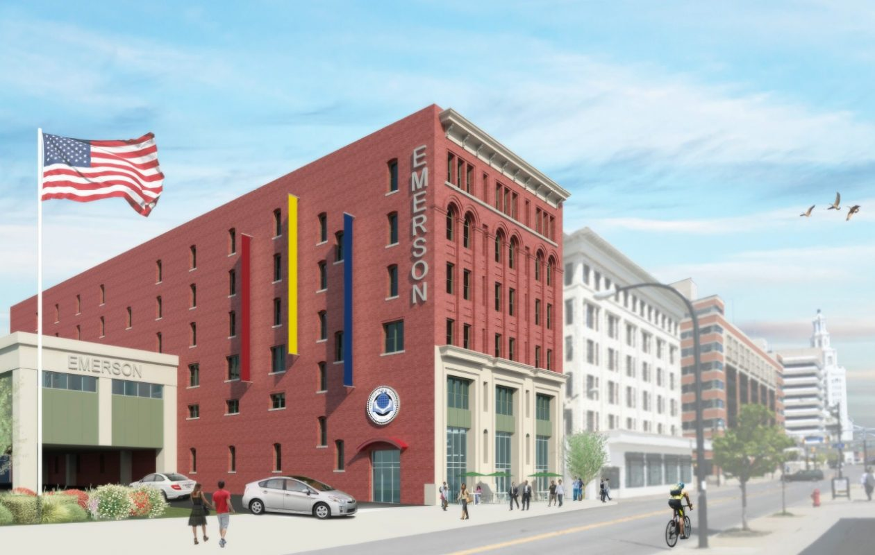 Rendering of the exterior of the proposed Emerson School of Hospitality  to be built around the corner from the existing school.