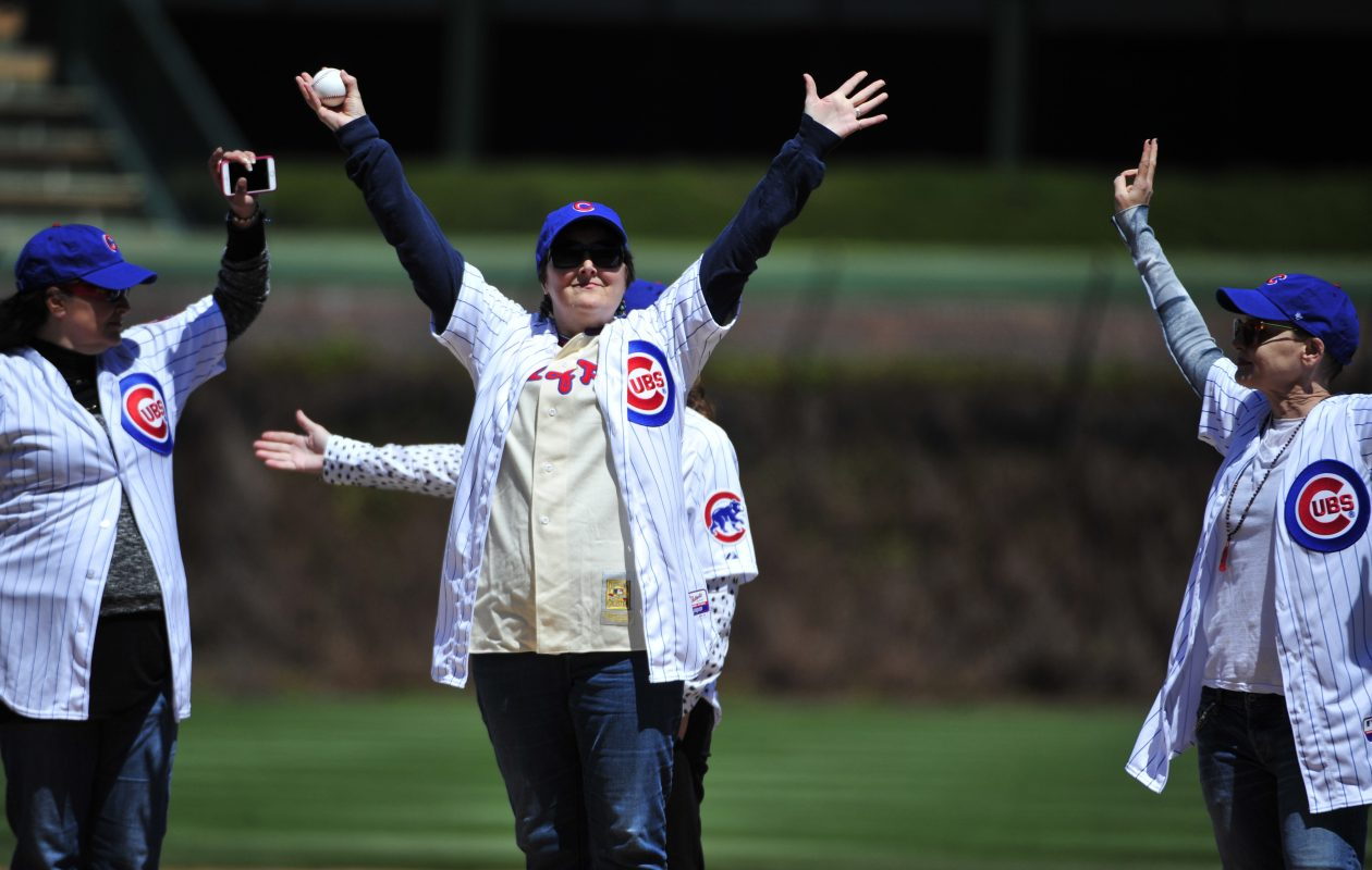 Megan Cavanagh, who played Marla Hooch in the movie A League Of Their Own threw out the first pitch at Wrigley Field. (Getty Images)