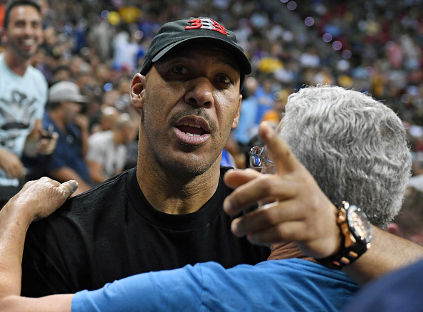 LAS VEGAS, NV – JULY 07:  LaVar Ball, father of Lonzo Ball #2 of the Los Angeles Lakers, is greeted at halftime of a 2017 Summer League game between the Lakers and the Los Angeles Clippers at the Thomas & Mack Center on July 7, 2017 in Las Vegas, Nevada. The Clippers won 96-93 in overtime. NOTE TO USER: User expressly acknowledges and agrees that, by downloading and or using this photograph, User is consenting to the terms and conditions of the Getty Images License Agreement.  (Photo by Ethan Miller/Getty Images)