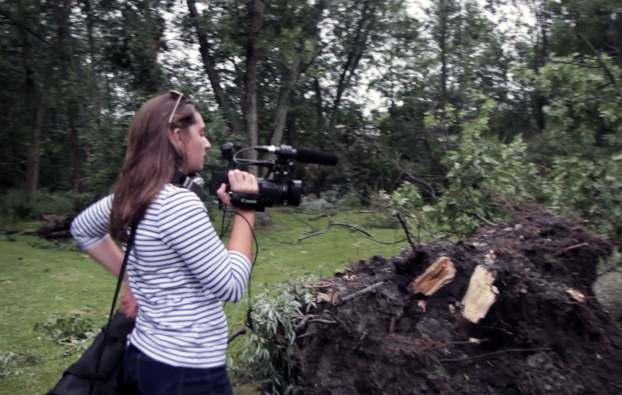 Hannah Johnston, 15, a student at Hilbert College Media Camp got a lesson how how to cover breaking news Thursday when a tornado ripped through Hamburg. (Provided by Chris Gallant)