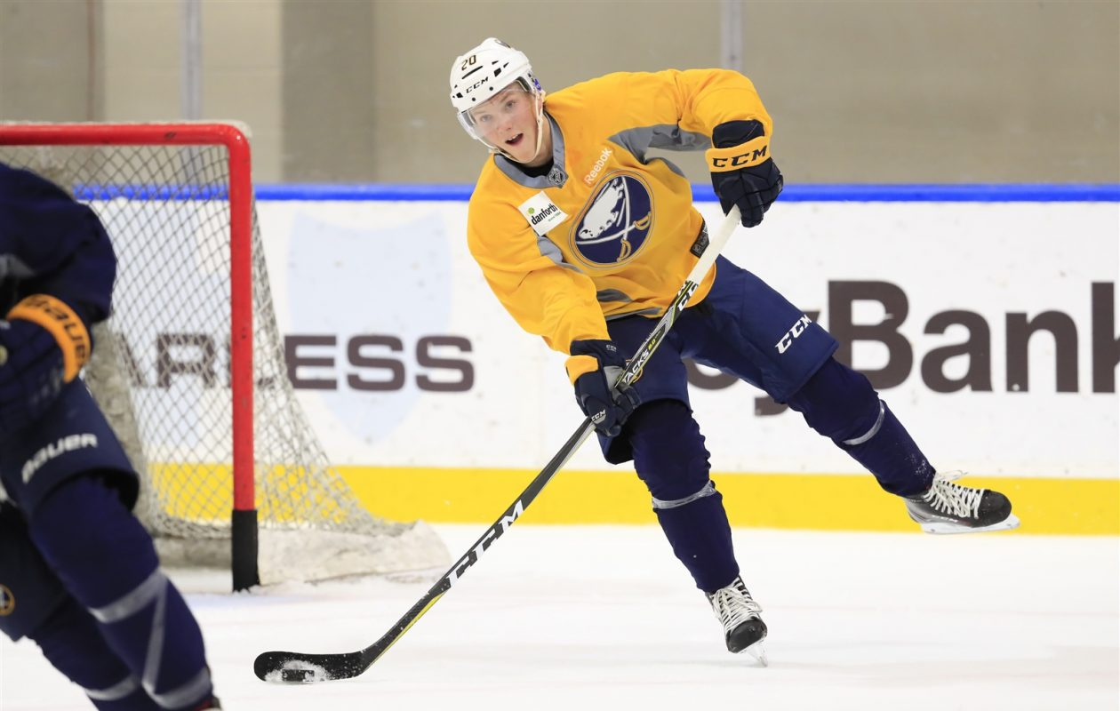 Third-round pick Oskari Laaksonen is relishing his first chance at an NHL development camp (Harry Scull Jr./Buffalo News).