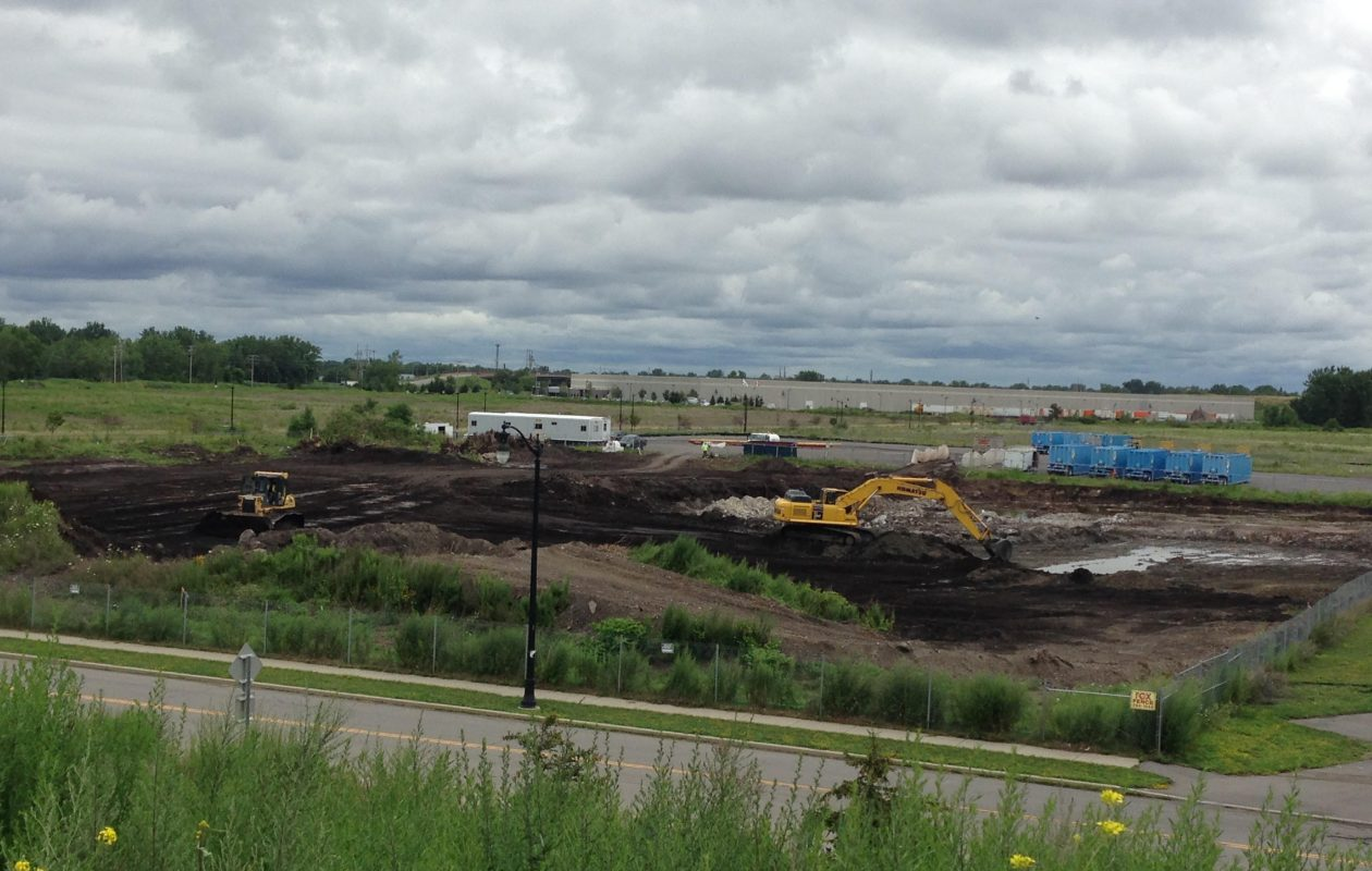 A more than $7 million cleanup is underway on a Brownfield parcel at the Buffalo Lakeside Commerce Park near the Father Baker Bridge. (T.J. Pignataro/Buffalo News)