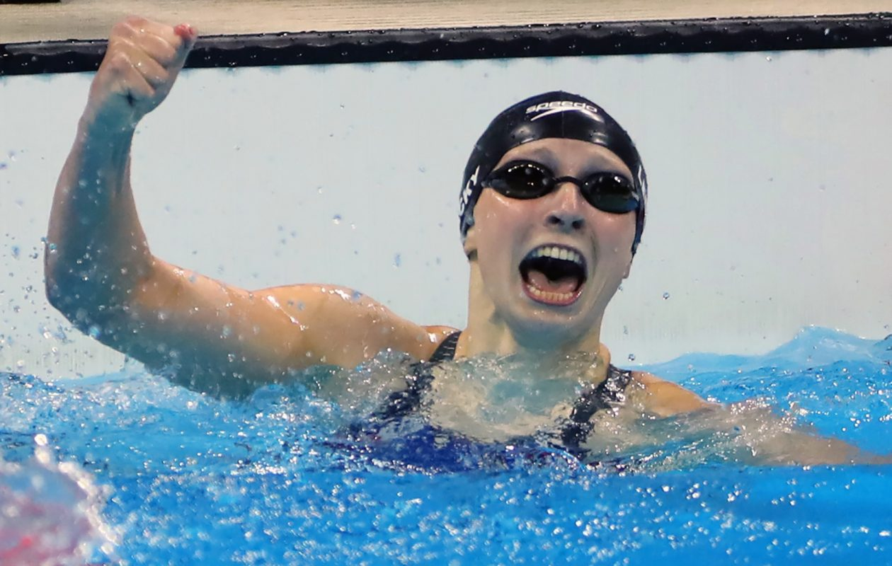 U.S. swimmer Katie Ledecky set a world record in the 400-meter freestyle and won the gold medal on Aug. 7, 2016, at the Olympic Games in Rio de Janeiro, Brazil. (Minneapolis Star Tribune/TNS)