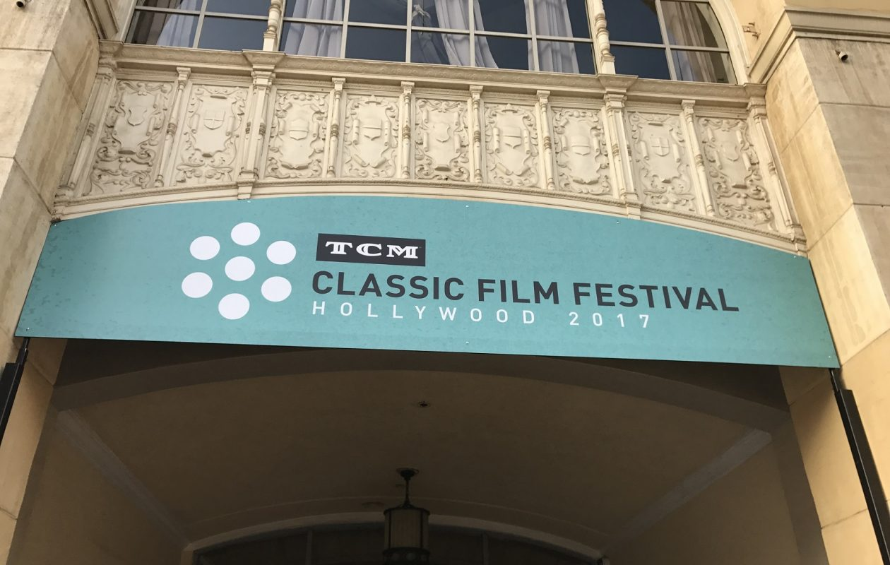 A TCM Film Festival banner greets guests at the Hollywood Roosevelt Hotel, the host hotel for the event. (Toni Ruberto)