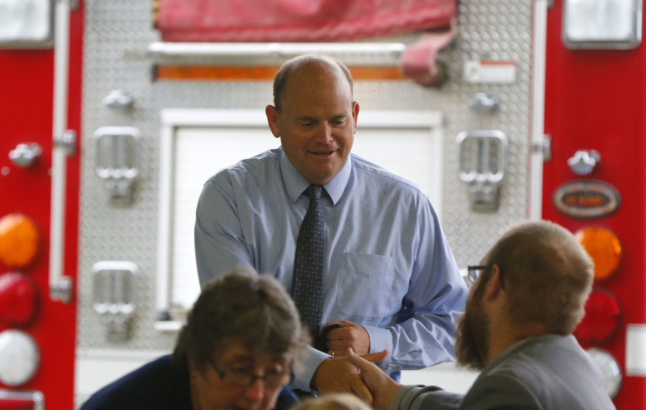 Congressman Tom Reed talks with his constituents during a town hall meeting at the Belfast Fire Hall in Belfast on Saturday, July 15, 2017.            (Mark Mulville/Buffalo News)
