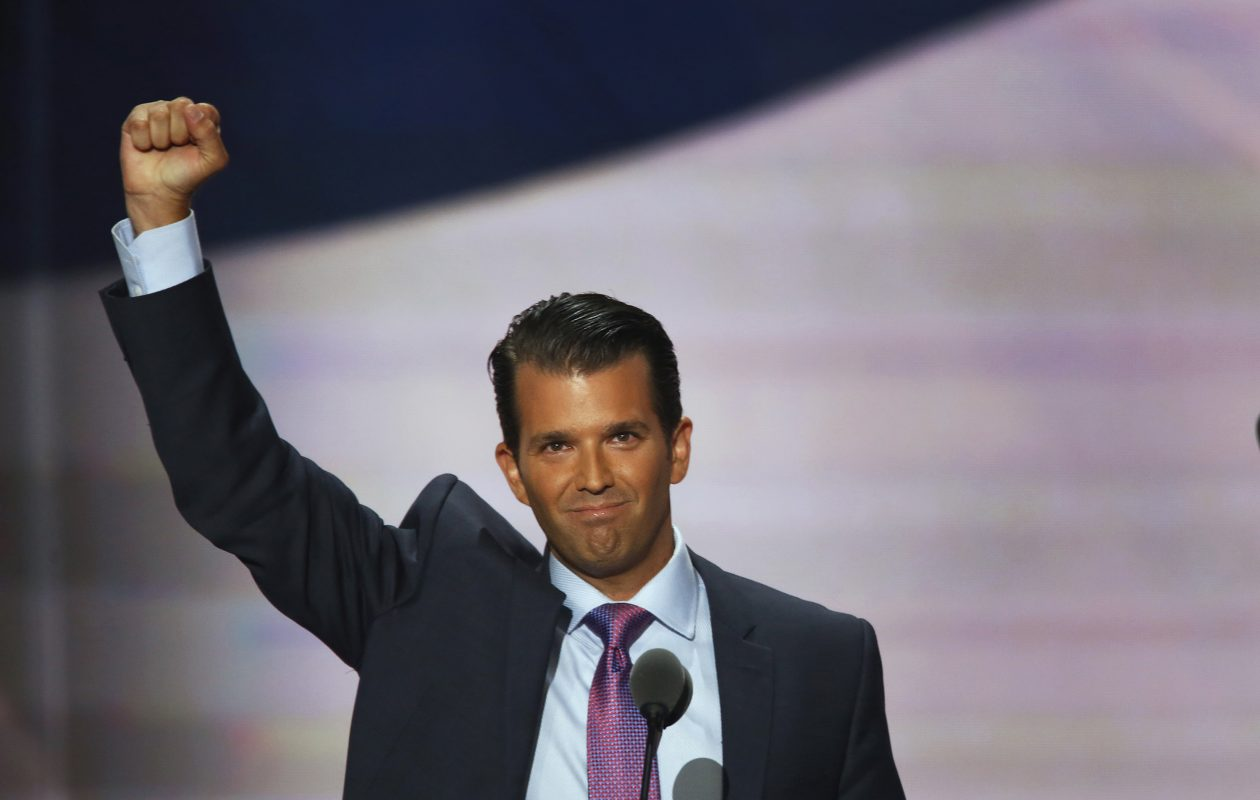 Donald Trump Jr., Donald Trump's son, speaks on the second day of the Republican National Convention on Tuesday, July 19, 2016, at Quicken Loans Arena in Cleveland. (Carolyn Cole/Los Angeles Times/TNS)