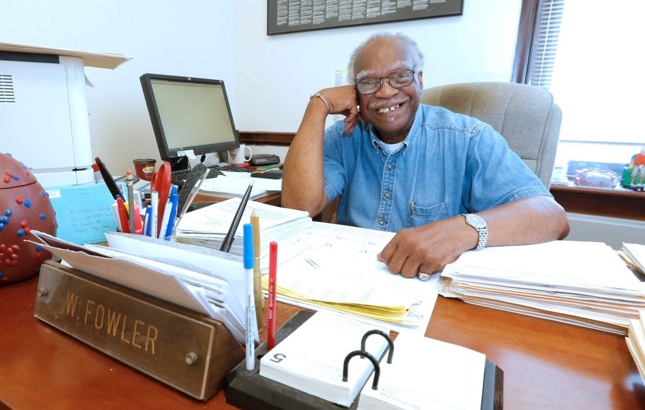 Will Fowler, longtime director of Erie County's Pistol Permits Office and one of the original Buffalo Bills, is retiring at the age of 80. (Robert Kirkham/Buffalo News)