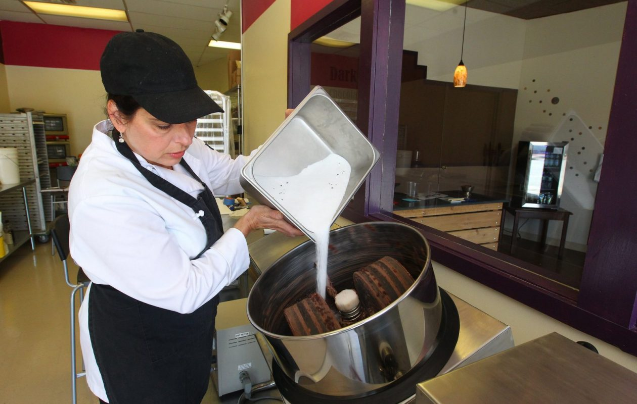 Joanne Sundell makes chocolate at Dark Forest Chocolate Makers in Lancaster. (Mark Mulville/News file photo)