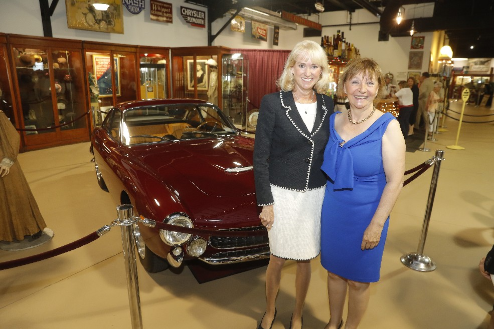 Ford Motor Co. executive Dianne Craig, left, and Joann Villeneuve,  chairwoman of an automotive museum being developed in Montreal, are two of the four women inducted Saturday into the Women's Transportation Hall of Fame in downtown Buffalo. (John Hickey/Buffalo News)