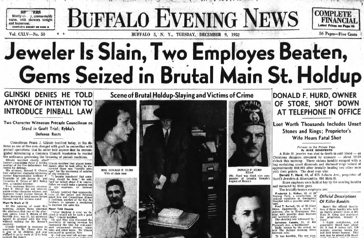 Cover of the December 9, 1952 edition of the Buffalo Evening News, reporting on the fatal morning holdup at Hurd's Jewelers & Silversmiths.