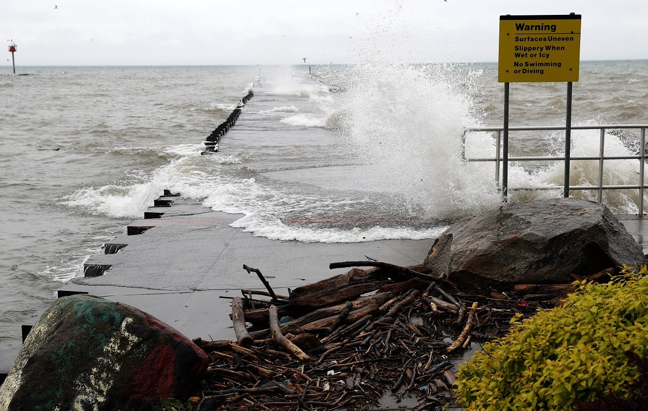 Lake Ontario levels were high in May, as shown here at the pier in Wilson in Niagara County on May 25. (John Hickey/Buffalo News file photo)