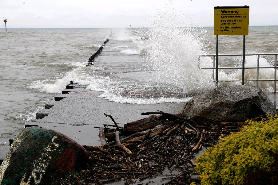 The Wilson Pier is in the area covered by more flooding from Lake Ontario Friday, according to the National Weather Service. (John Hickey/Buffalo News)