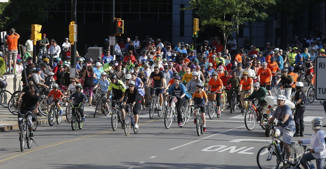 Bicyclists participating in tonight's Slow Roll Buffalo event will ride from Riverside to North Buffalo and back.  (Robert Kirkham/Buffalo News file photo)