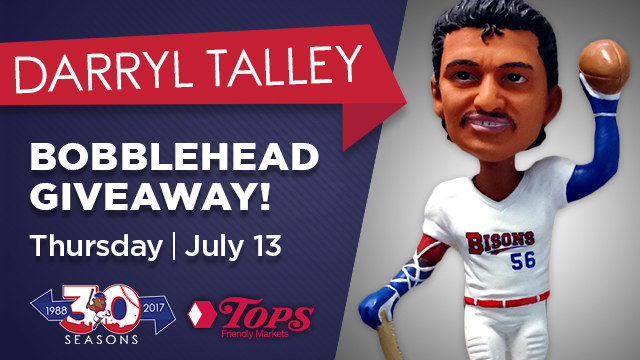 The first 1,000 fans at the game will receive a Darryl Talley bobblehead. (Courtesy of the Buffalo Bisons)