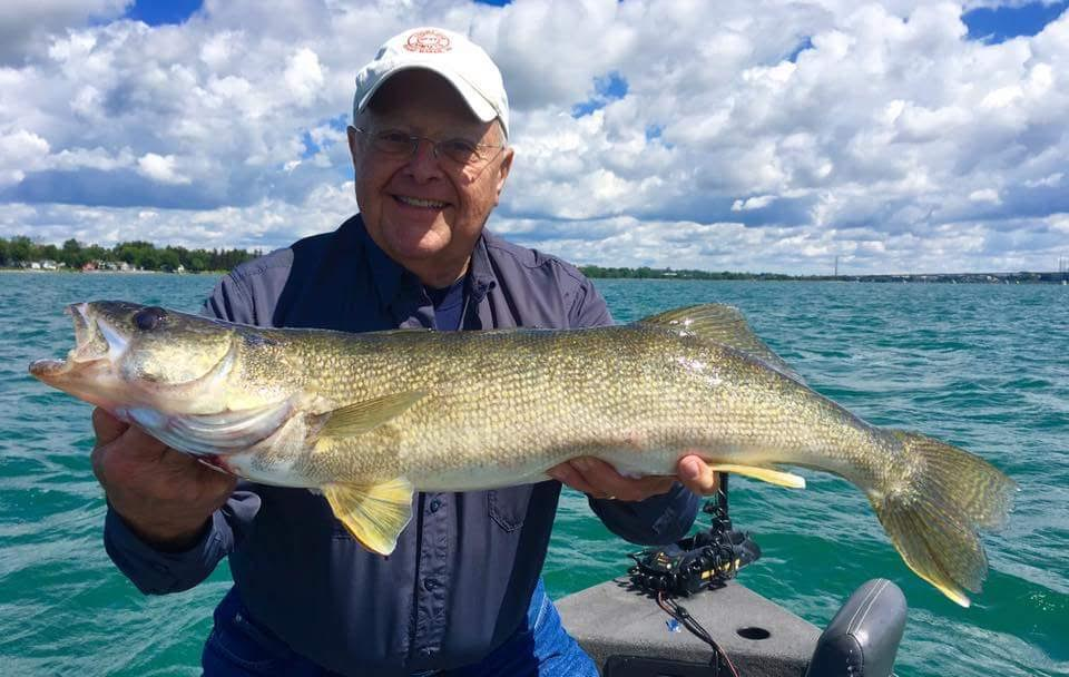 Bob Wolfe of Virginia caught this lunker walleye just outside the Buffalo Harbor bouncing bottom with a chartreuse worm harness. He was fishing with Capt. Ted Kessler of Grand Island.