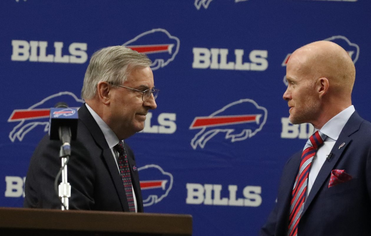 Buffalo Bills owner Terry Pegula introduced Sean McDermott as the new head football coach at ADPRO Sports Training Center  in Orchard Park N.Y. on Friday, Jan. 13, 2017.  (James P. McCoy/Buffalo News)