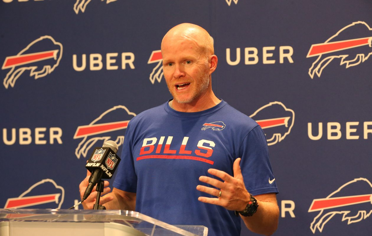 Sean McDermott talks to the press at ADPRO Sports Training Center media room in Orchard Park on Thursday, June 15, 2017. (James P. McCoy/Buffalo News)