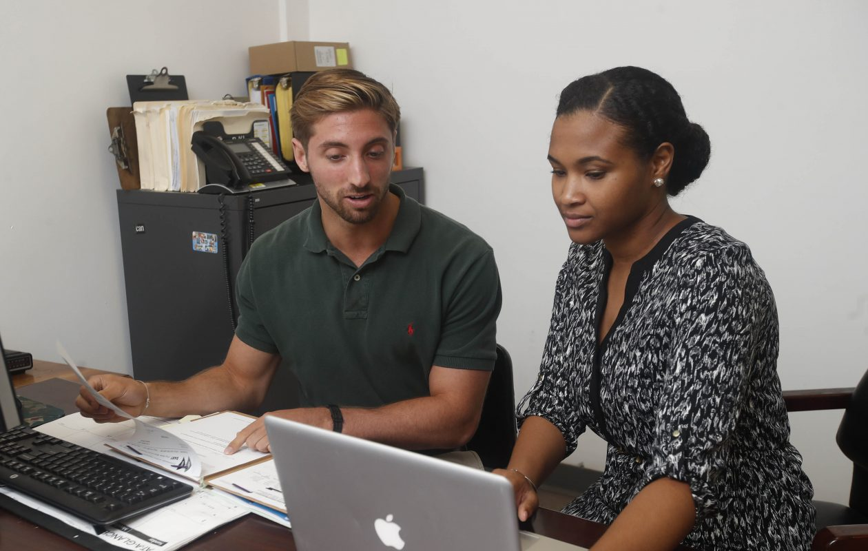 Nicholas Bossert, left, and Narissa Williams, a first year medical student at UB, spent the summer doing research at the DART Methadone Clinic on Main Street in Buffalo.  (Sharon Cantillon/Buffalo News)