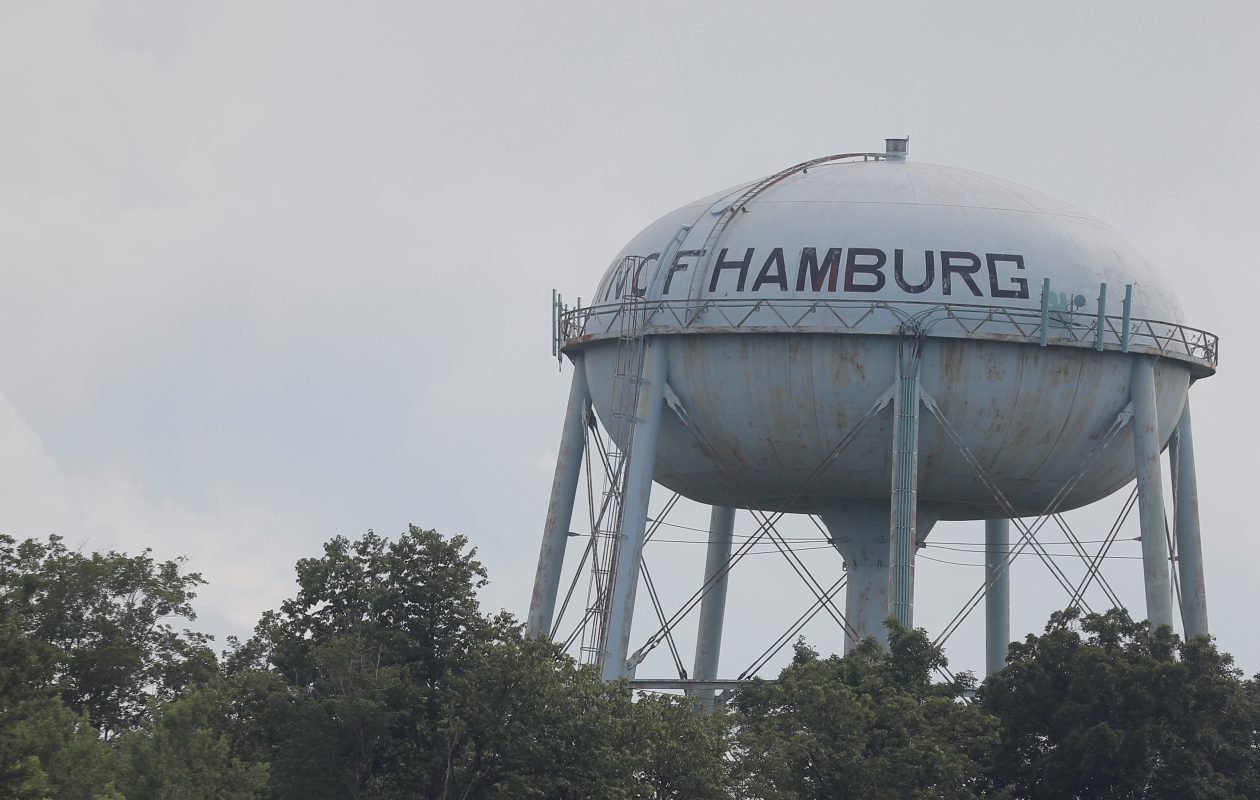 There's no denying that the aging Hamburg Water Tower has a remarkably burger-like shape. (John Hickey/Buffalo News)